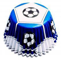 Paper cupcakes antigreix x30 Fútbol blau
