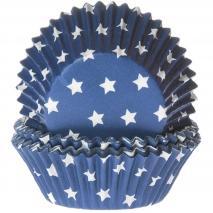 Papel cupcakes x50 azul y estrellas blancas