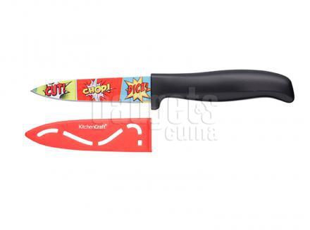 Cuchillo con funda Comic 9 cm rojo