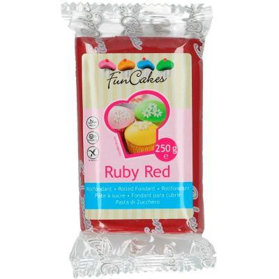 Fondant FunCakes 250 g rojo rubí