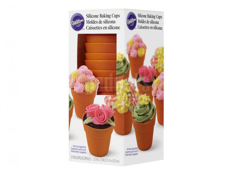 Moldes cupcakes silicona macetas x12 gadgets cuina - Moldes cupcakes silicona ...