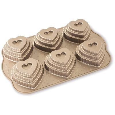 Molde multicavidad Nordic Ware Corazón Bundt x6
