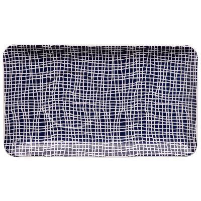 Bandeja individual Blue Nimes cuadros 21x12 cm