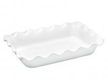 Fuente cerámica rectangular Ondulado blanco