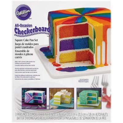 Juego 3 moldes cuadrados y divisor Pastel Ajedrez