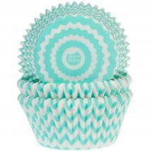 Papel cupcakes x50 chevron menta