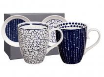 Set 2 mug Blue con platos flor-topos
