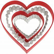 Set 4 cortadores galletas corazón