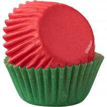 Papel mini cupcakes rojo y verde 100 unidades