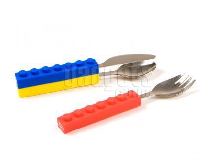 Set 3 cubiertos niños Lego stack