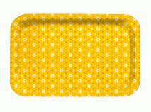 Bandeja fibra flor 6 pétalos amarillos 28x18