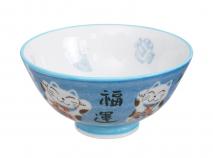 Bol arroz y cereales Gato de la suerte azul