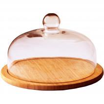 Quesera bambú campana cristal 30 cm