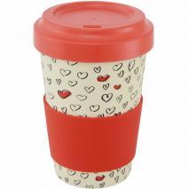 Taza mug fibra bambú Hearts 500 ml