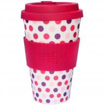 Tassa bambú amb tapa Ecoffee 400 ml Polka rosa