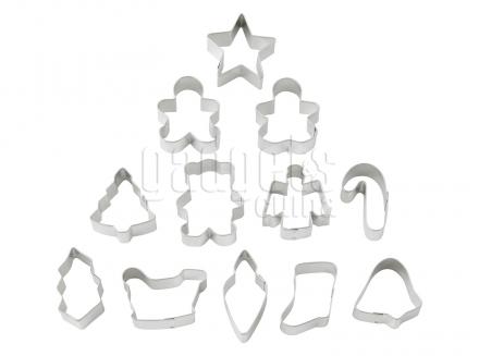 Set 12 cortadores galletas mini Navidad