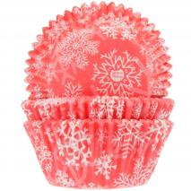 Papel cupcakes x50 Copo de nieve Crystal red
