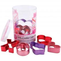 Set 9 talladors galetes anoditzats Sant Valentí