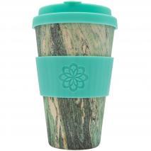 Taza bambú con tapa Ecoffee 400 ml Marmo verde