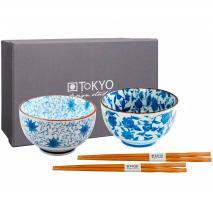 Set 2 boles arroz sushi con 4 palillos flor azul
