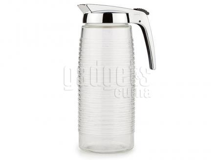 Jarra agua nevera cristal tradicional tapa cromada
