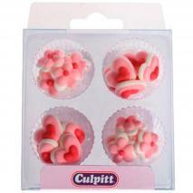 Set de 12 decoraciones de azúcar Mini Corazón Rosa