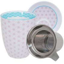 Set taza mug té con filtro y tapa Wave