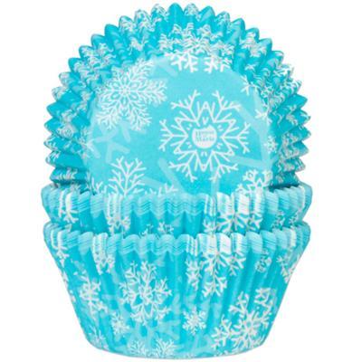 Papel cupcakes azul cristalino y nieve 50 unidades