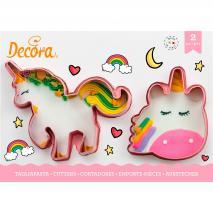 Set 2 cortadores galletas plástico Unicornios