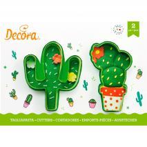 Set 2 cortadores galletas plástico Cactus