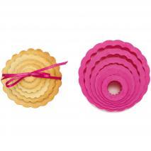 Set 6 cortadores galletas Circular rizado tamaños