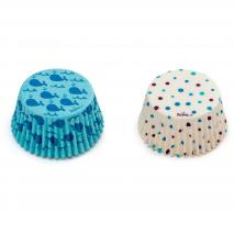 Papel cupcakes x36 Ballenas y Lunares