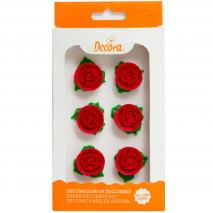 Set 6 decoraciones de azúcar Rosa roja