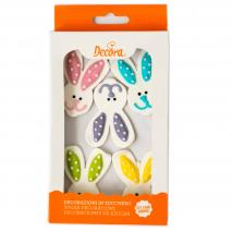 Set 5 decoraciones de azúcar Conejo Pascua