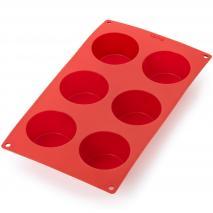 Molde muffins silicona 6 cav. x120 ml rojo