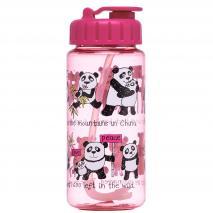 Botella agua con pajita Pandas