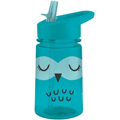 Botella agua Zoo Owl con pajita