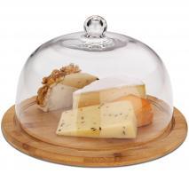 Quesera madera campana cristal 24 cm
