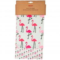 Set 2 draps cuina flamingo rosa