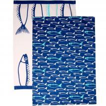 Set 2 draps cuina peix blau