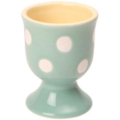 Huevera de porcelana Sage Polka verde