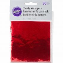 Set 50 papers metàl.lics vermell embolicar bombons