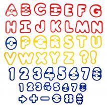 Juego 50 cortadores galletas números y letras