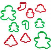 Set 10 cortadores galletas plástico Navidad