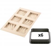 Motllo silicona Kit Tarta Sand x6 8x8 cm