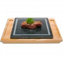 Piedra de carne con base madera 35x30 cm