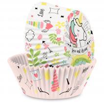 Papel cupcakes unicornio x36