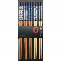 5 parells bastonets japonesos motius blaus