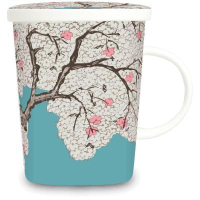 Taza de té con filtro árbol Sakura