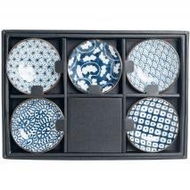 Set 5 bols soja japonesos motius blaus 9 cm